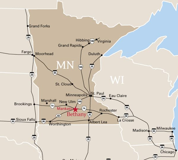 Regional map showing location of Bethany in Minnesota, United States.